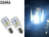 1156 DAMA MINI LED Light Bulbs BA15S Canbus Error-Free 24CSP White / Amber Pack of 2