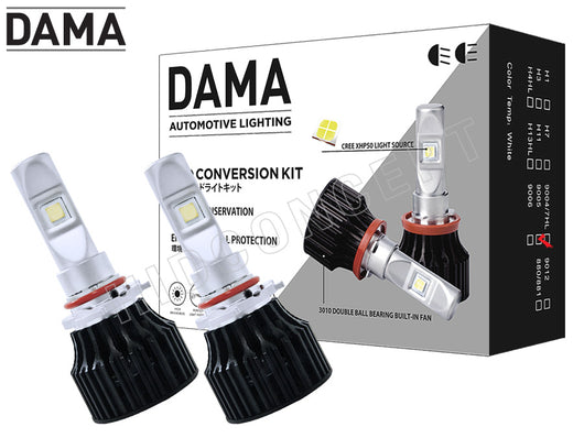 9005 DAMA Kanji Lux Vision (KLV) V.1 LED Headlight/Foglight Kit package and two opened bulbs