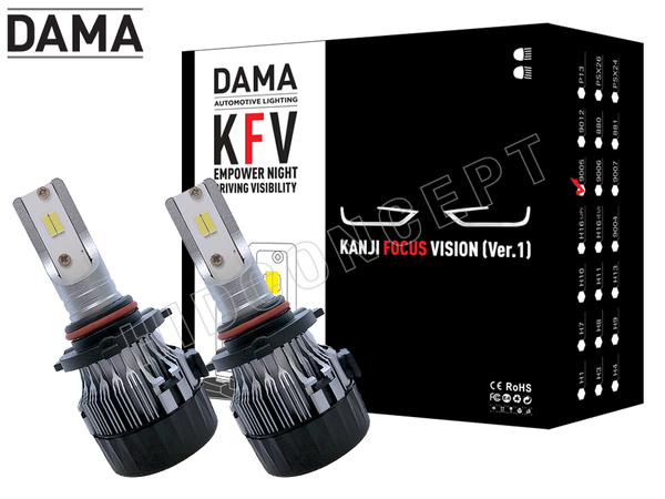 NEW! 9005 (HB3) - DAMA Kanji FOCUS Vision V.1 LED Headlight Bulbs (Pack of 2)