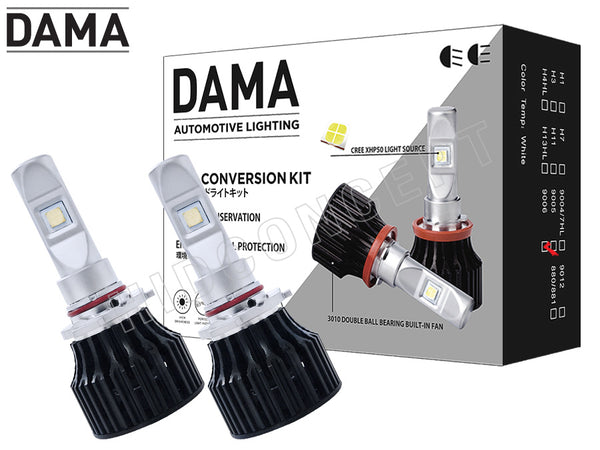 two opened 9006 DAMA Kanji Lux Vision (KLV) V.1 LED Headlight/Foglight bulbs and kit package