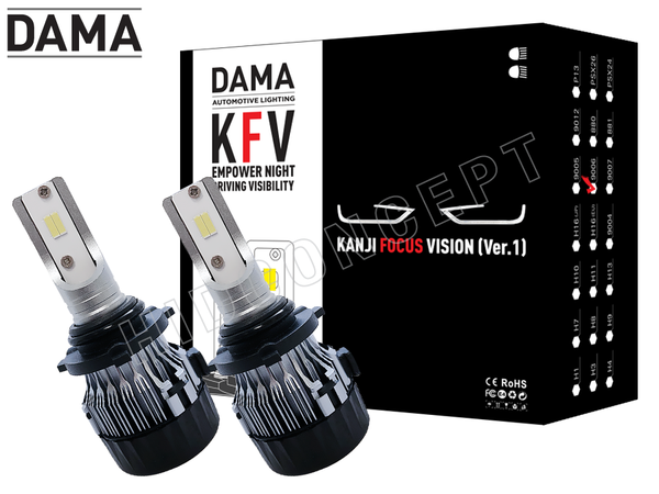 NEW! 9006 (HB4) - DAMA Kanji FOCUS Vision V.1 LED Headlight Bulbs (Pack of 2)