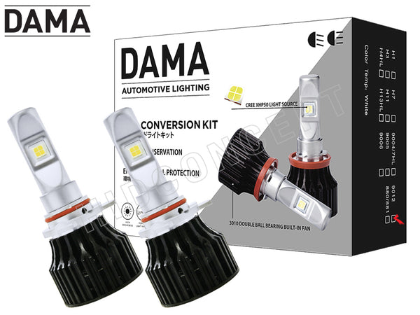 two opened DAMA 9012 Kanji Lux Vision V.1 LED and kit package