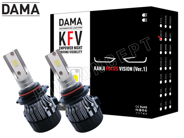 NEW! 9012 - DAMA Kanji FOCUS Vision V.1 LED Headlight Bulbs (Pack of 2)