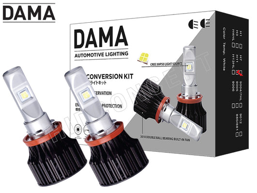 two opened DAMA H11 Kanji Lux Vision V.1 LED bulbs and kit package