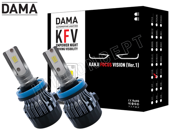 NEW! H11 - DAMA Kanji FOCUS Vision V.1 LED Headlight Bulbs (Pack of 2)