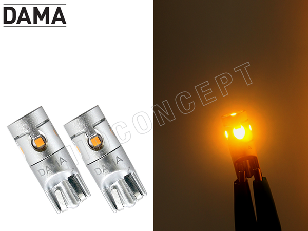 194 DAMA MINI LED Light Bulbs Canbus Error-Free T10 5CSP White / Amber Pack of 2