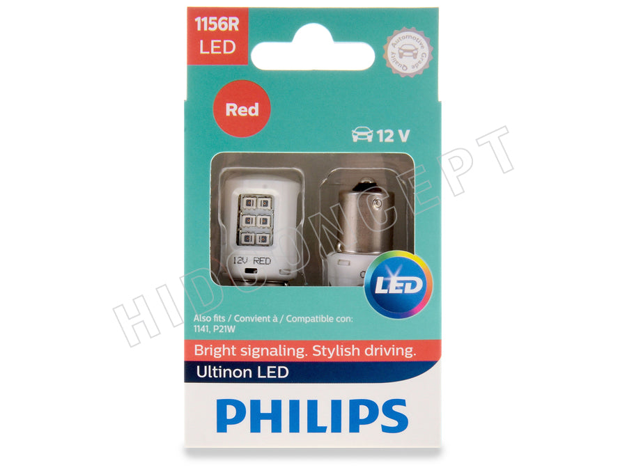 2 Pack Philips 1156 Ultinon LED Bulb Red