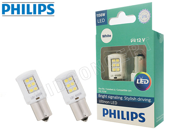 1156 - PHILIPS NEW Ultinon LED White / Red / Amber Bulbs | Pack of 2