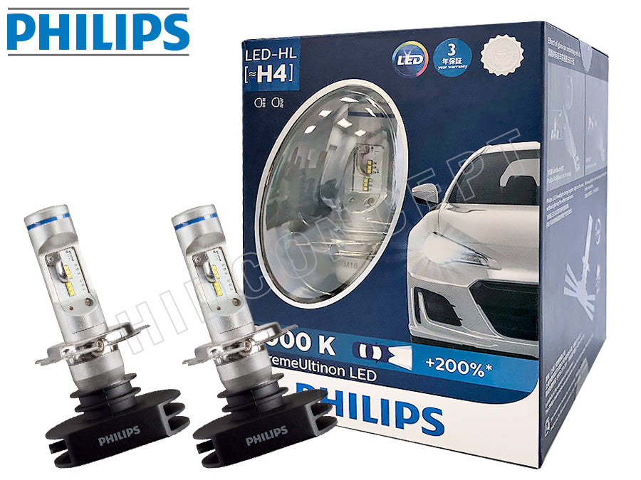 H4 9003 Philips 6000k X Treme Ultinon 12953bwx2 Led
