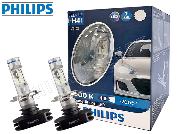 enclosed package and two opened of H4 Philips X-treme Ultinon LED 6000K
