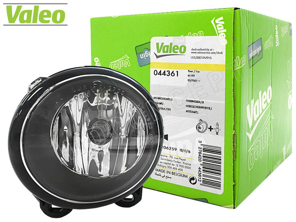 front view of lamp and product box of #44361 Valeo OEM Fog Lamp for BMW 5 series 10-15 BMW