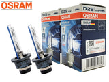 two opened Osram D2S HID Cool Blue Hyper 6000K bulbs with the package