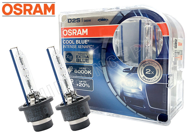 two opened Osram D2S Cool Blue Intense Bulbs with the package