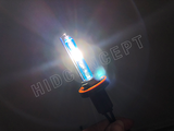 H11 HCX Osram Cool Blue Hyper D2S HID Rebased bulbs turned on