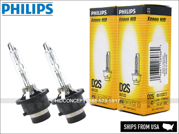 Two Philips D2S OEM HID bulbs with the package