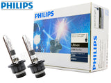 enclosed package and two opened Philips D2R HID Flash Star 6700K Bulbs