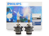 two opened Philips D2R HID Flash Star 6700K Bulbs with the package