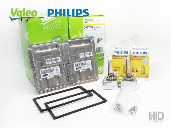 Two Valeo LAD5G ballasts with Philips HID bulbs and rubber seal and mounting screws.
