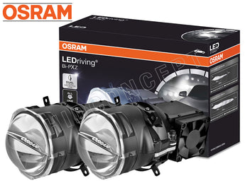 enclosed package and two opened Osram Bi-PXZ retrofit projectors
