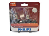 front view of 9005 Philips X-treme Vision +100% 9005XVB2 Bulbs in the package