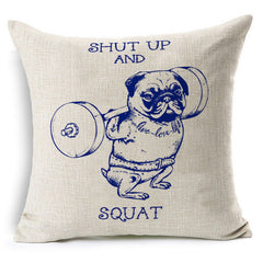 SQUAT! Pug Throw Pillow