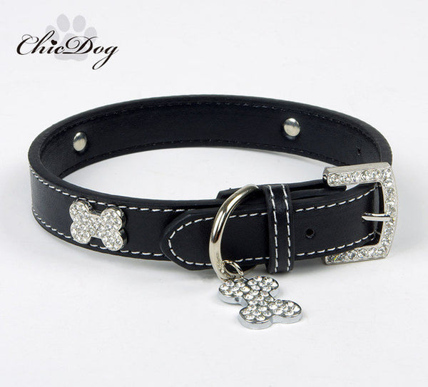 Rinestone Leather Collar