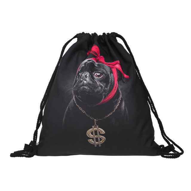 3D Gangsta Pug Drawstring Bag