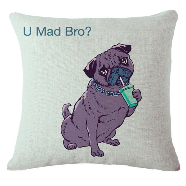 Fun Pug Throw Pillow