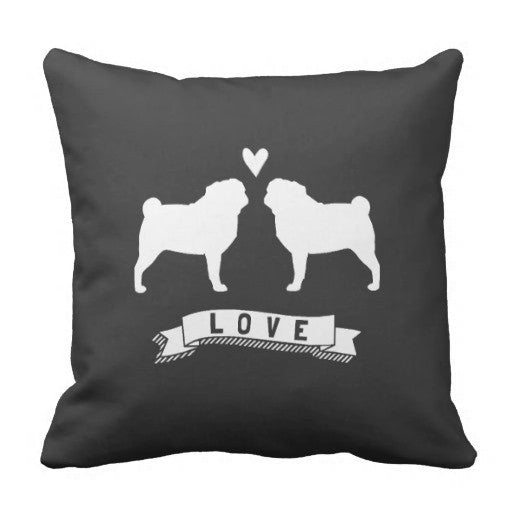 Couple Pug Throw Pillow
