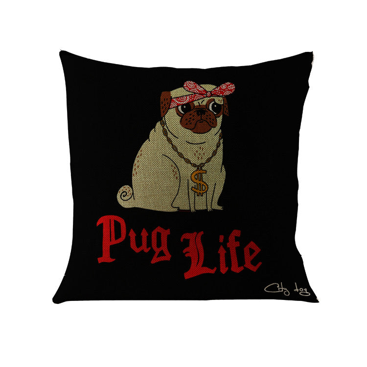 The Thug Pug Life Throw Pillow