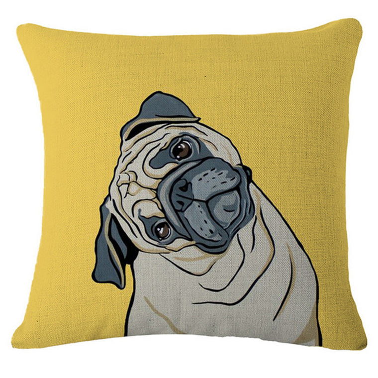 Grumble Pug Throw Pillow