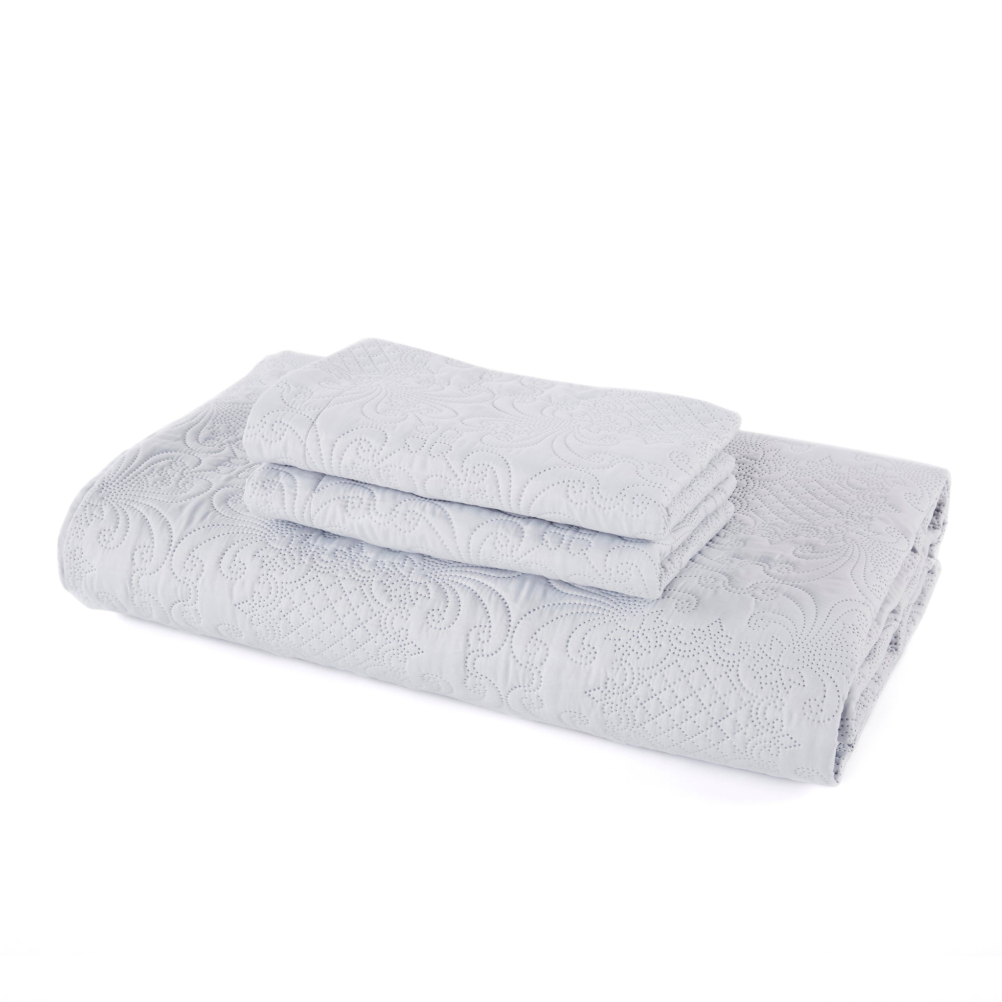 Isselle Derby Coverlet and Pillow Sham Set | Grey Slate (Queen Size)