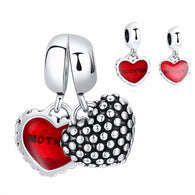 Double Heart Charm Pair for Mother and Child (Fits Pandora)
