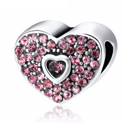 Pink Crystal Heart Charm (Fits Pandora)