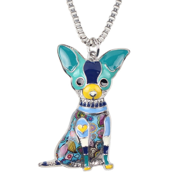 Enameled Chihuahua Necklace & Pendant