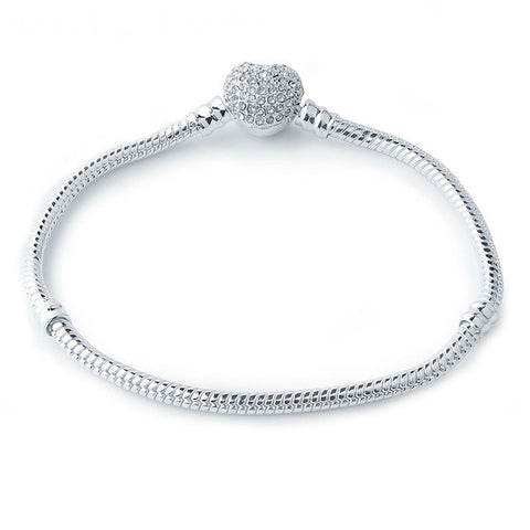 Crystal Heart Clasp Rope Charm Bracelet (fits Pandora)
