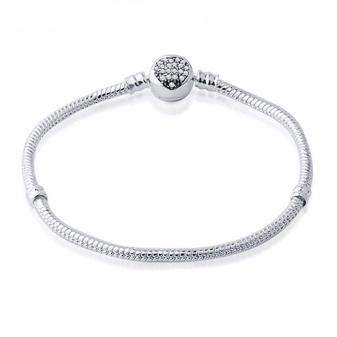 Clear Crystal Heart Clasp Rope Charm Bracelet (Fits Pandora)