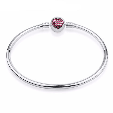 Red Crystal Heart Clasp Bracelet & Bangle (Fits Pandora)