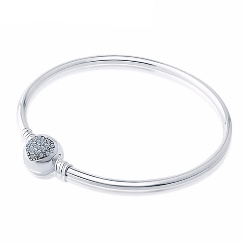 Bangle Charm Bracelet with Jeweled Heart Clasp (fits Pandora)