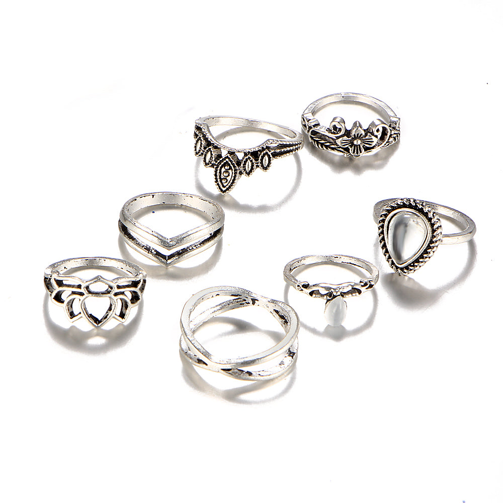 Vintage Knuckle Midi Rings Set For Women Antique Gold Color Hollow