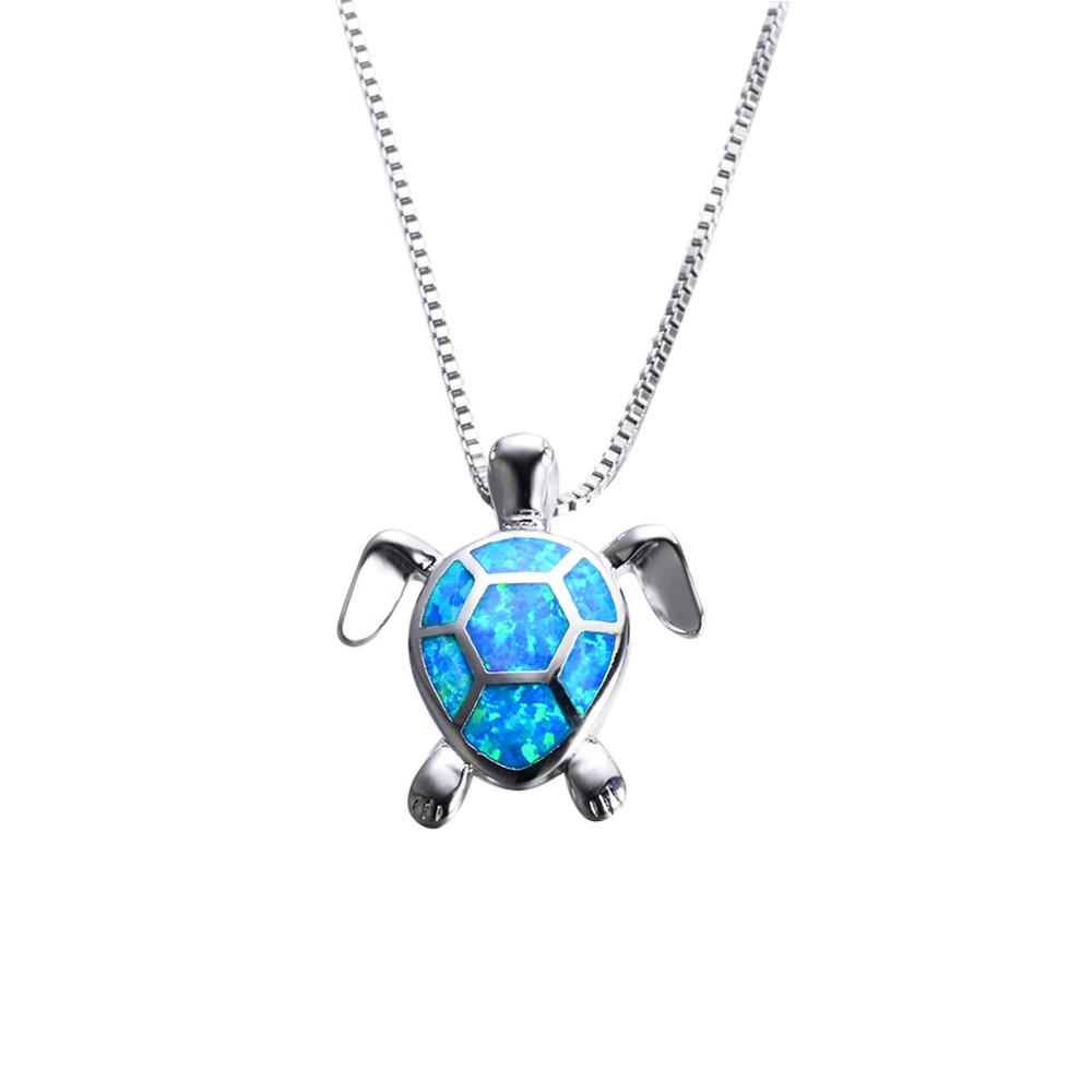 Women blue opal turtles necklace new fashion animal wedding jewelry women blue opal turtles necklace new fashion animal wedding jewelry 925 sterling silver filled necklaces pendants aloadofball Image collections