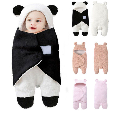 Cute Cartoon Baby Hooded Wrap Fleece Swaddle Winter Warm Blanket  With Ear for Newborn, Infant and Toddler.