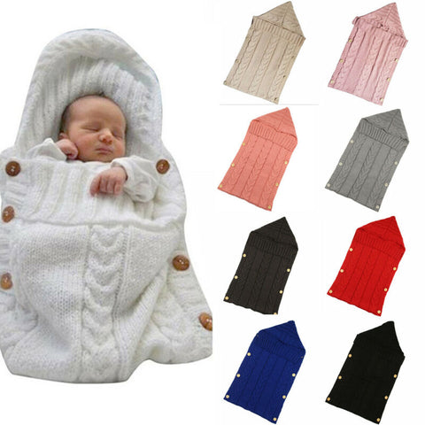 Newborn Infant Knitted Sleeping Bags Button Blankets for Toddler, Baby Boys and Girls.