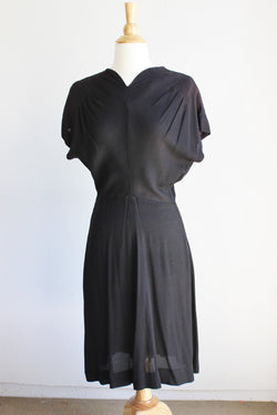 Vintage 1930s 1940s Black Rayon Dress With Keyhole Back