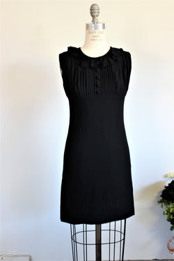 Vintage 1960s Black Dress With Ruffled Collar