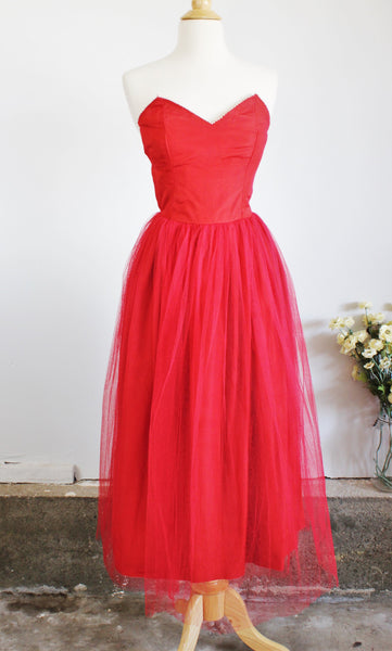 Vintage 1940s 1950s Red Tulle Dress With Pearl Trim