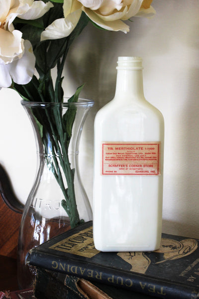 Vintage 1930s or 1940s Merthiolate Poison Bottle, Milkglass