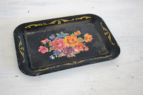 Vintage 1950s or 1960s Black Painted Metal Tray