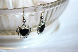 Vintage Black Heart Earrings