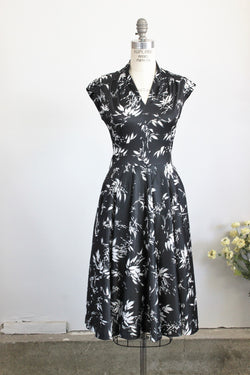 Vintage 1970s Black And White Floral Print Dress